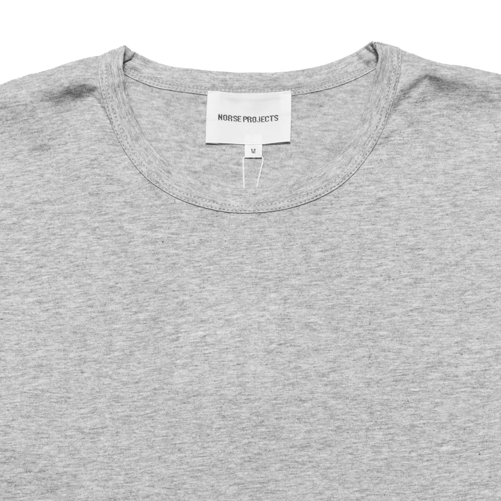 Norse Projects Jesper Mercerized Light Grey Melange at shoplostfound, neck