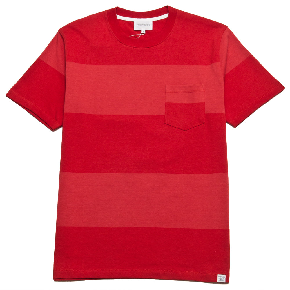 Norse Projects Johannes Block Stripe Askja Red at shoplostfound, front