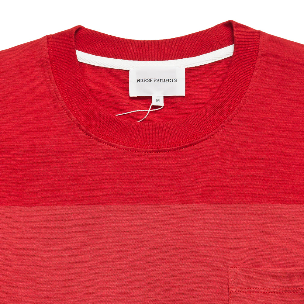Norse Projects Johannes Block Stripe Askja Red at shoplostfound, neck
