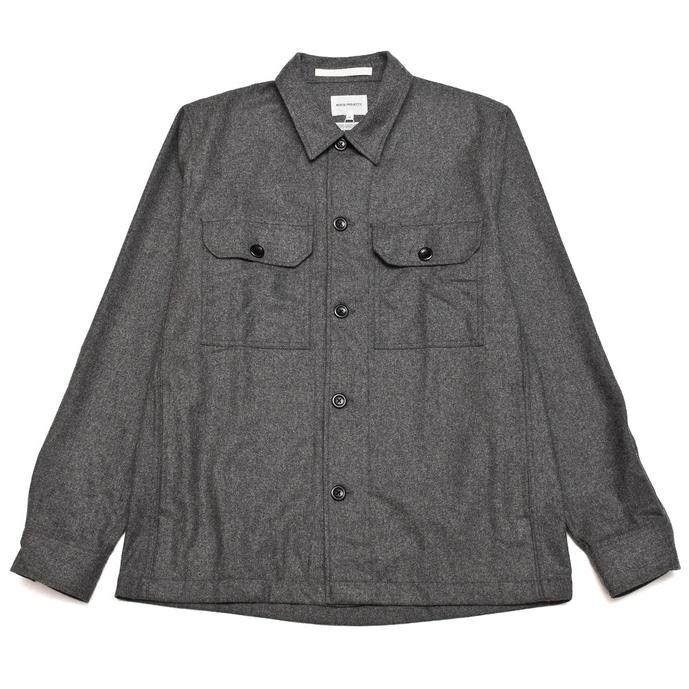 Norse Projects Kyle Wool Shirt Charcoal Melange at shoplostfound, front