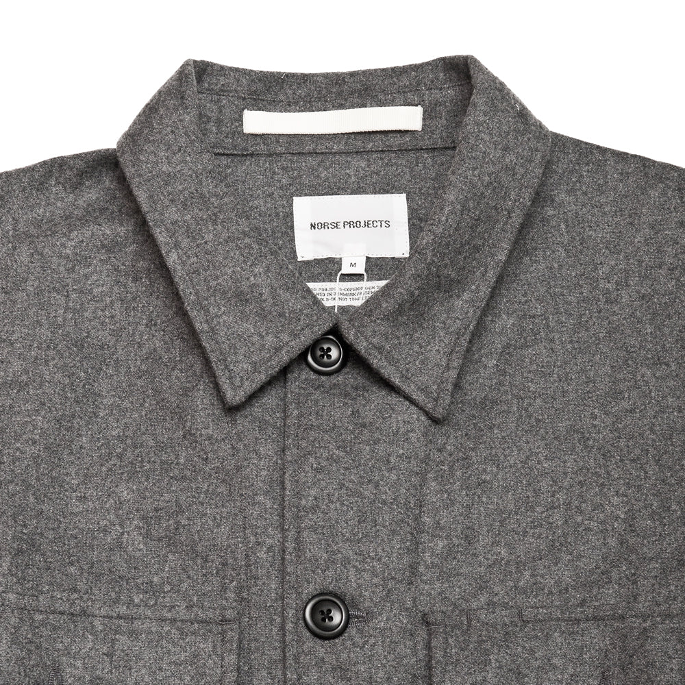 Norse Projects Kyle Wool Shirt Charcoal Melange at shoplostfound, neck