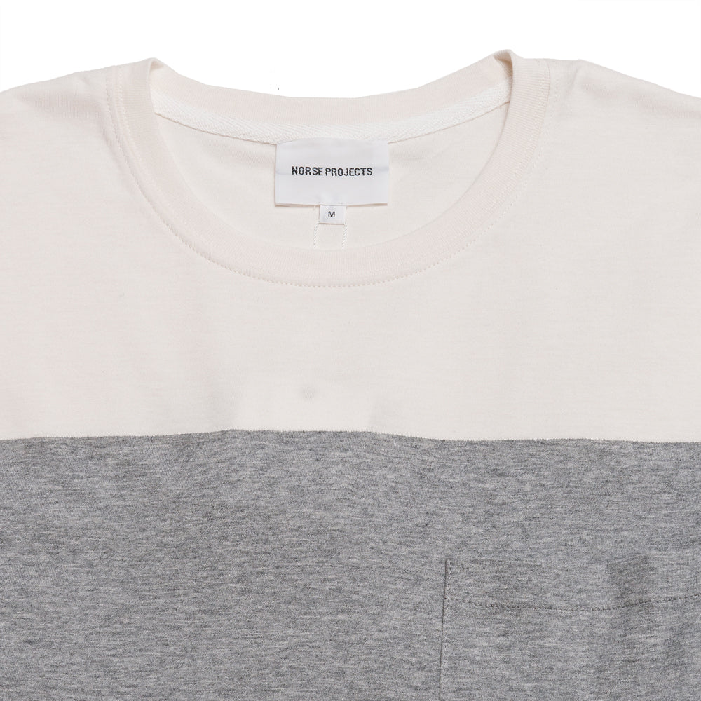 Norse Projects Niels Colour Block Light Grey Melange at shoplostfound, neck