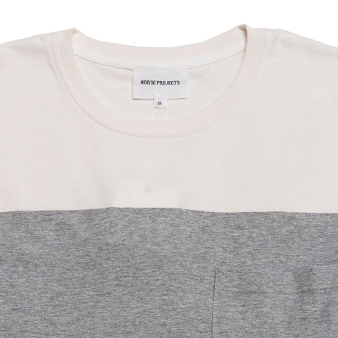 Norse Projects Niels Colour Block Light Grey Melange at shoplostfound, front