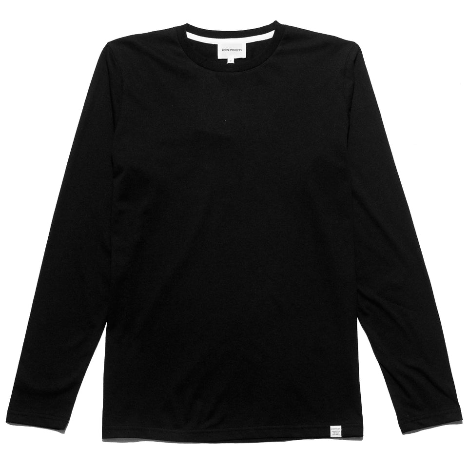 Norse Projects Niels Standard Long Sleeve Black at shoplostfound, front