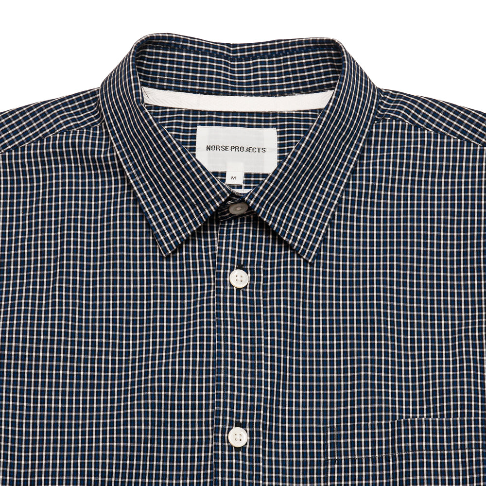 Norse Projects Osvald Micro Plaid Shirt Twilight Blue