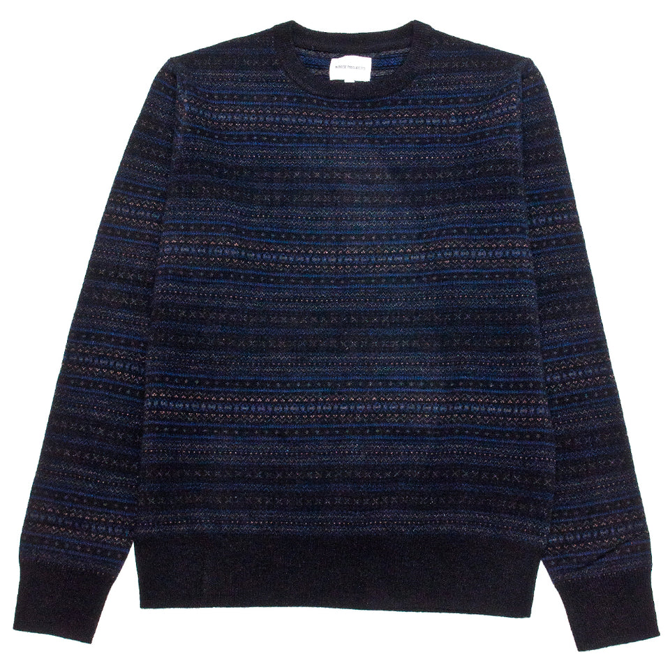 Norse Projects Sigfred Fairisle Cashwool Sweater Black