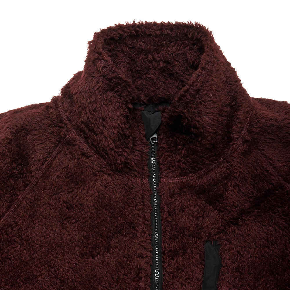 Norse Projects Tycho Zip Fleece Mulberry Red at shoplostfound, neck