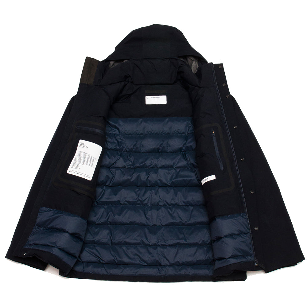 Norse Projects Ystad Down Gore Tex Dark Navy at shoplostfound, inside