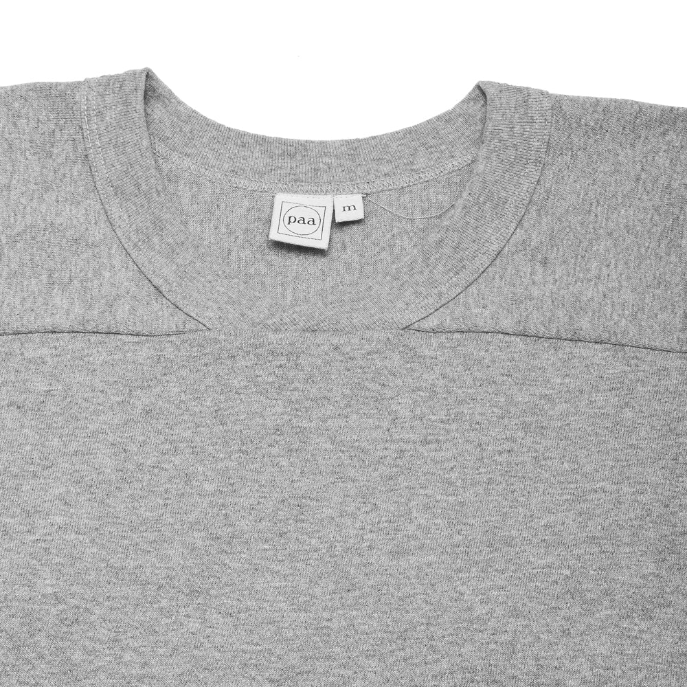 PAA Long Sleeve Football Tee Heather Grey at shoplostfound, neck