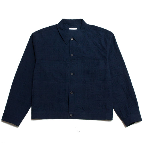 S.K. Manor Hill Puckered Type 100 Jacket Navy at shoplostfound, front