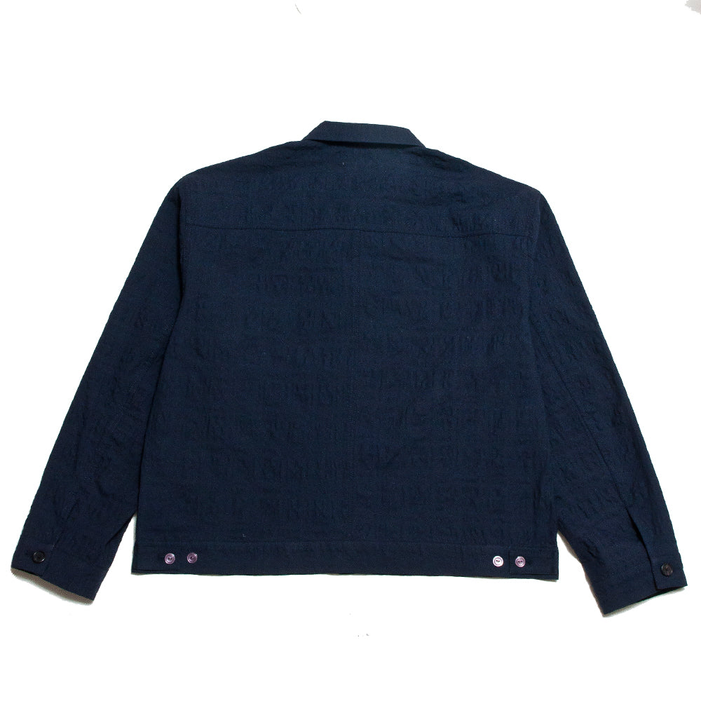 S.K. Manor Hill Puckered Type 100 Jacket Navy at shoplostfound, back