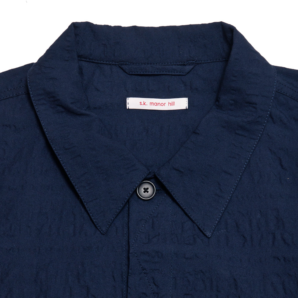 S.K. Manor Hill Puckered Type 100 Jacket Navy at shoplostfound, neck