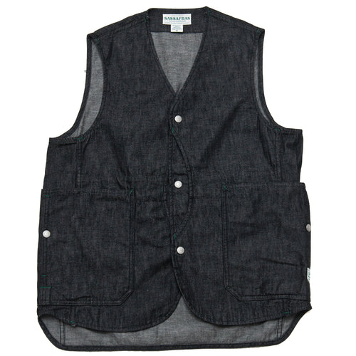 Sassafras Fall Leaf Gardener Vest Black at shoplostfound, front