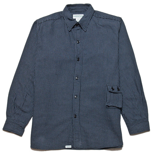 Sassafras G.D.U. Shirt Charcoal Houndstooth at shoplostfound, front