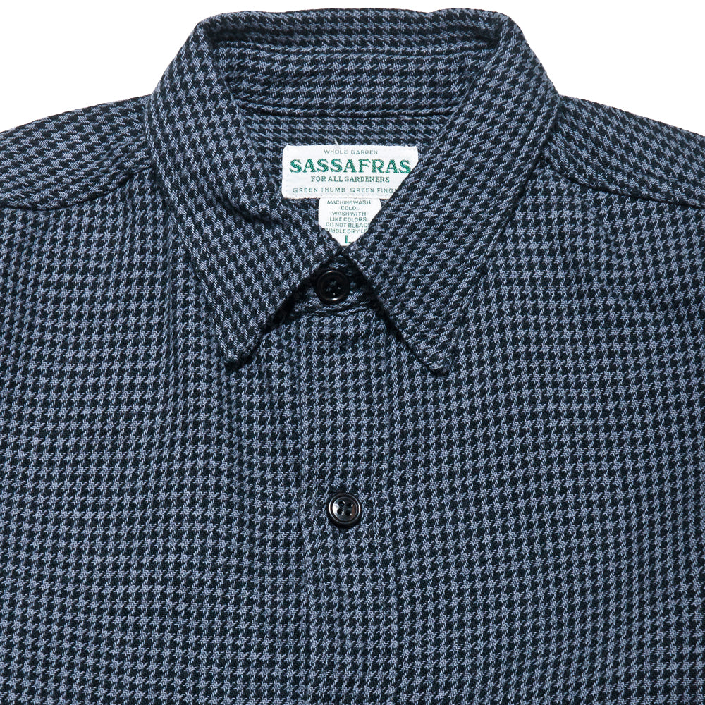 Sassafras G.D.U. Shirt Charcoal Houndstooth at shoplostfound, neck