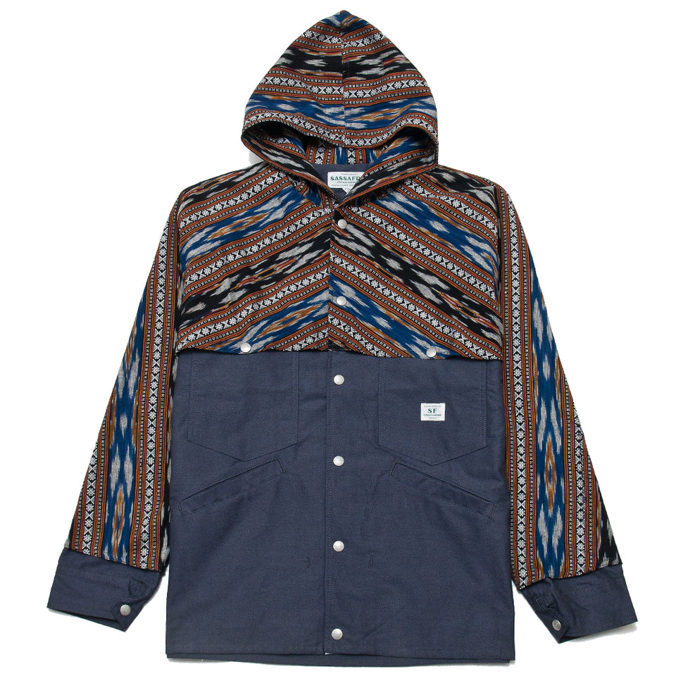Sassafras Gardener Cruiser Bud Jacket Ikat Navy Oxford at shoplostfound, front