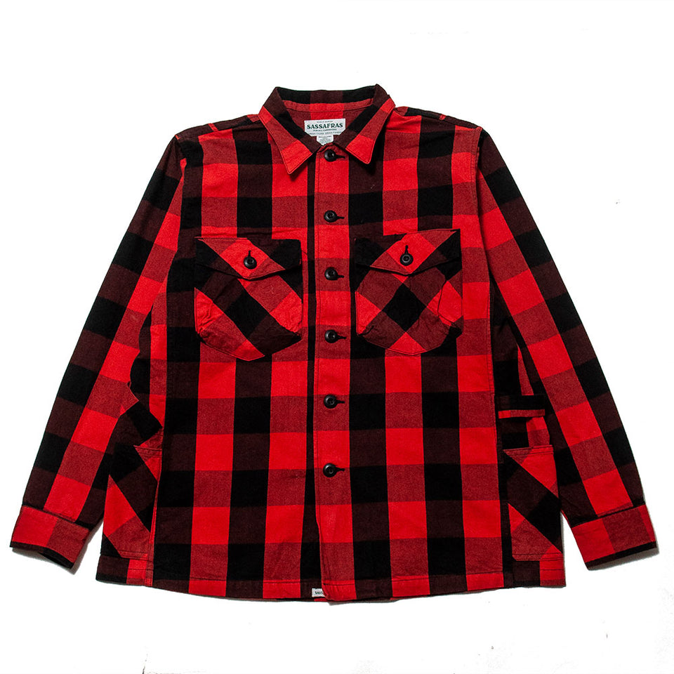 Sassafras Gardener Half Shirt Buffalo Plaid Red at shoplostfound, front