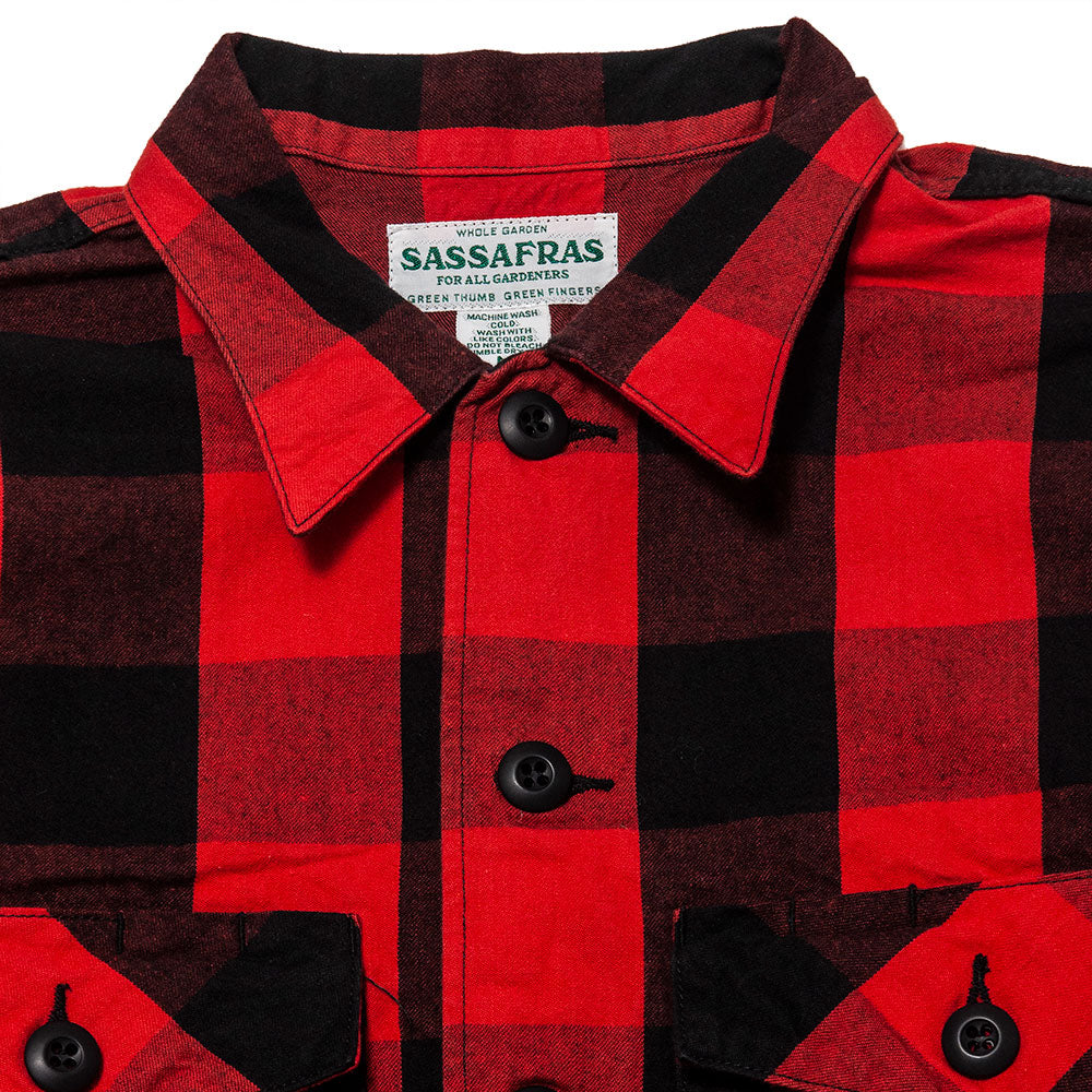 Sassafras Gardener Half Shirt Buffalo Plaid Red at shoplostfound, neck