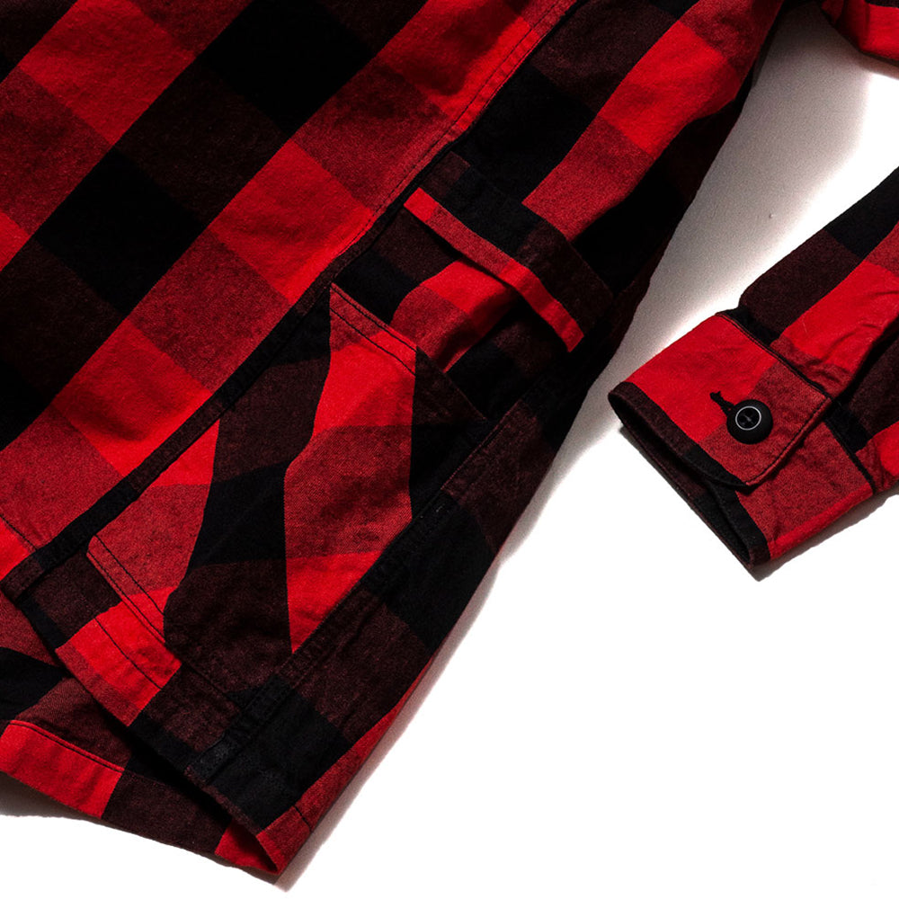 Sassafras Gardener Half Shirt Buffalo Plaid Red at shoplostfound, cuff