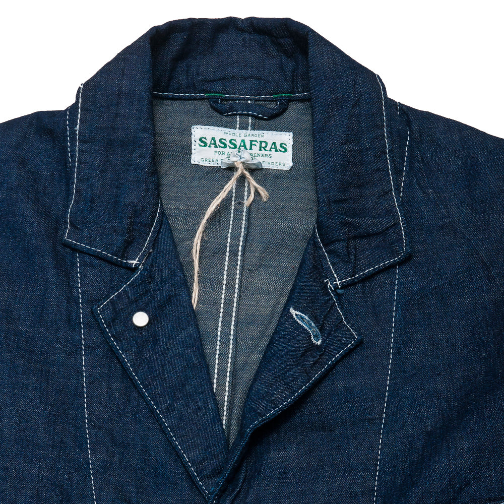 Sassafras Whole Leaf Coat Indigo 8oz Denim at shoplostfound, neck