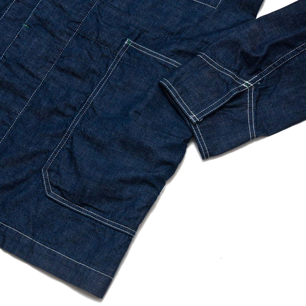 Sassafras Whole Leaf Coat Indigo 8oz Denim at shoplostfound, cuff