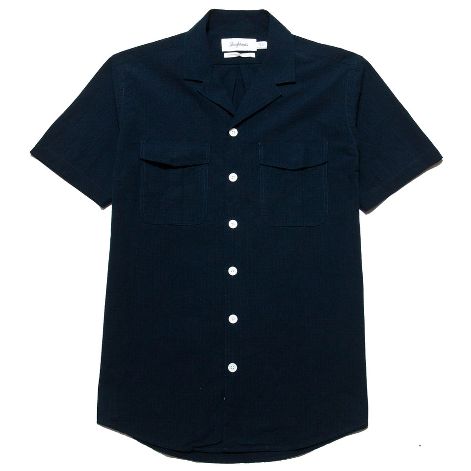 Schnayderman's Leisure Notch Small Scout Check SS Navy at shoplostfound, front