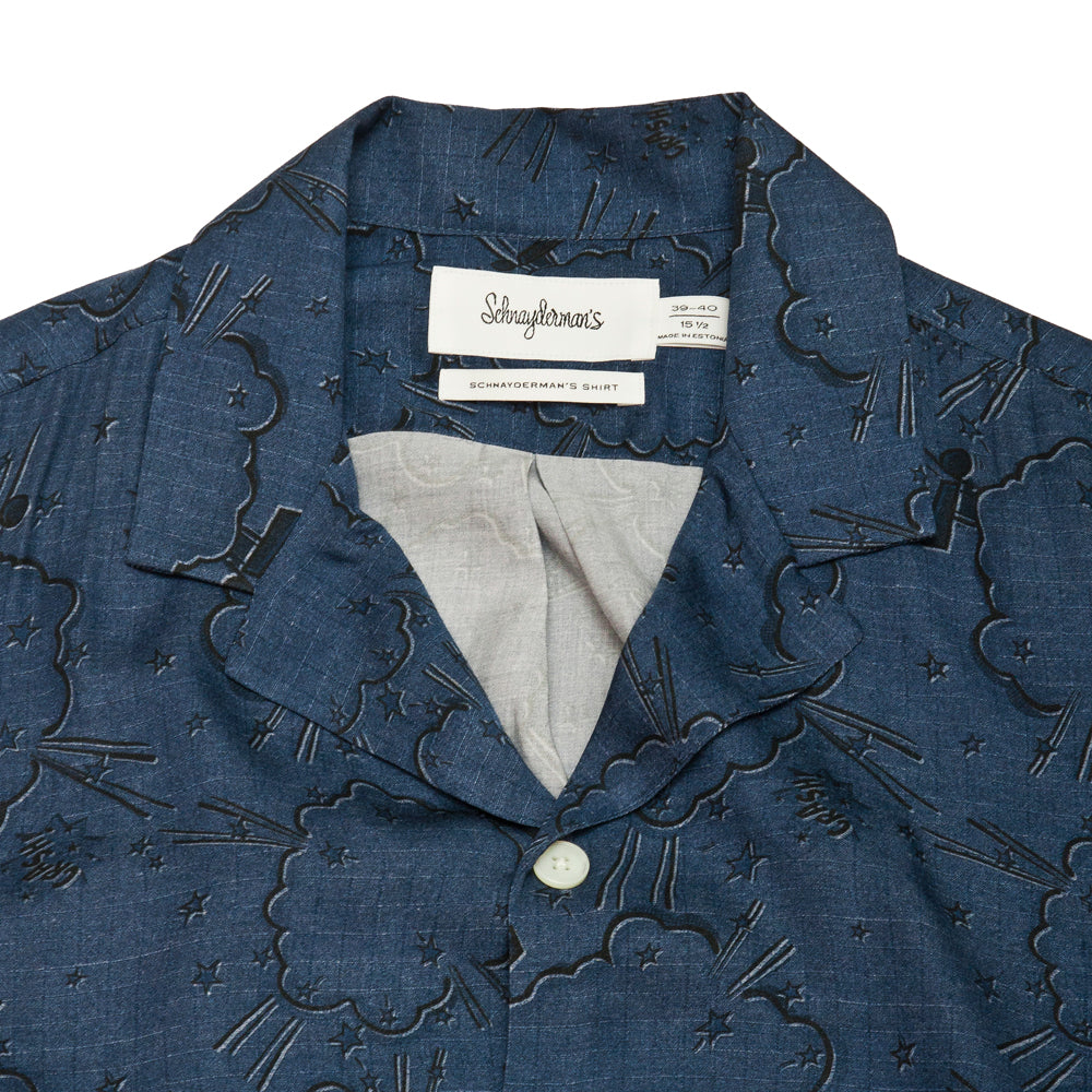 Schnayderman's Shirt Notch Print Comic Blue at shoplostfound, neck
