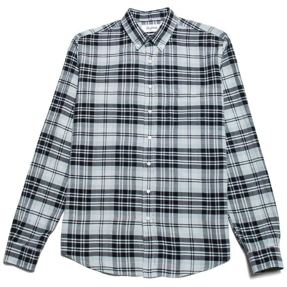 Schnayderman's Shirt Twill Large Check Garment Dyed Black/Green/Blue at shoplostfound, front