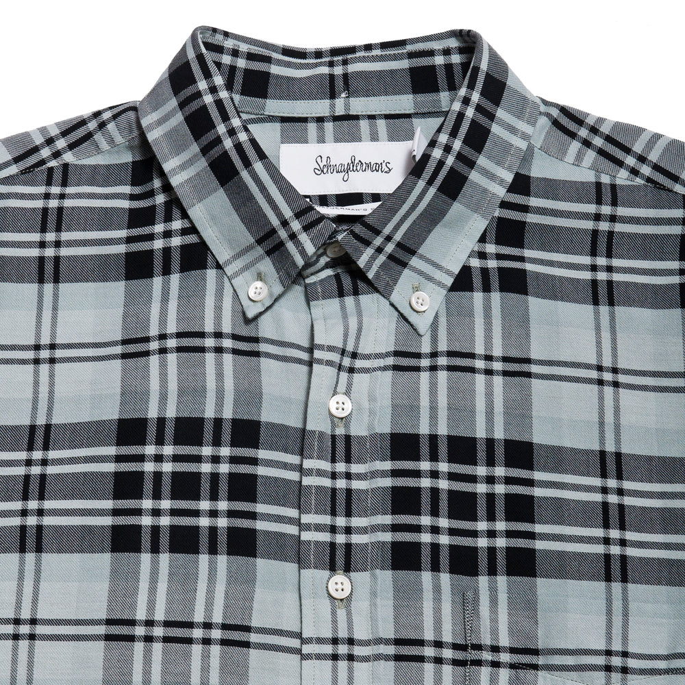 Schnayderman's Shirt Twill Large Check Garment Dyed Black/Green/Blue at shoplostfound, neck
