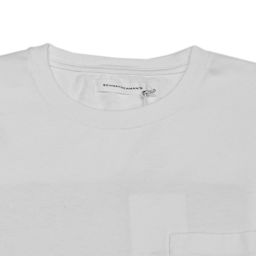 Schnayderman's T-Shirt Jersey Print White at shoplostfound, neck