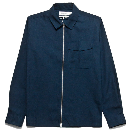 Schnayderman's Zip Shirt Tech Twill Navy at shoplostfound, front