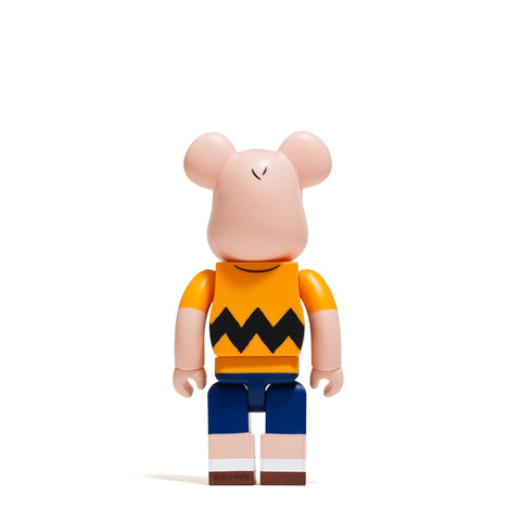 Medicom Toy x Charlie Brown Yellow Tee 400% Bearbrick at shoplostfound, front