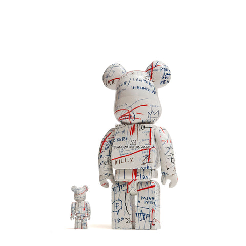 Medicom Toy x Jean-Michel Basquiat 100% + 400% Bearbrick at shoplostfound, front
