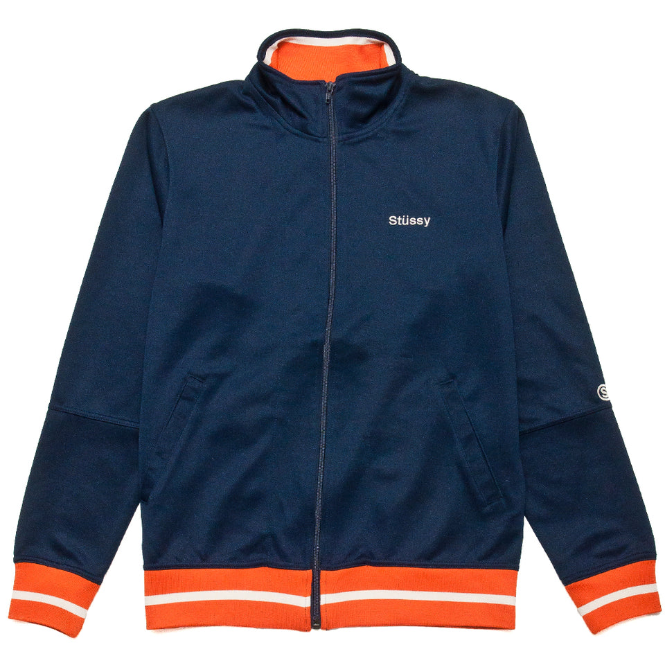 Stüssy Poly Track Jacket Navy at shoplostfound, front