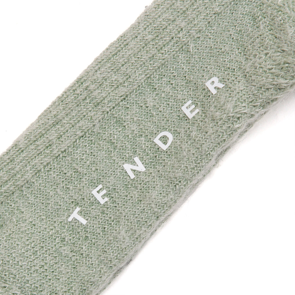Tender Rib Calf Socks Mohair Viridian at shoplostfound, detail