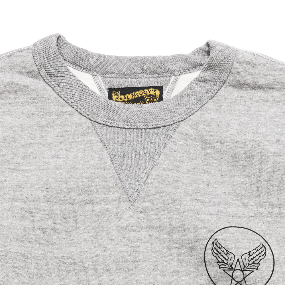 The Real McCoy's Army Air Force Sweatshirt Grey at shoplostfound, neck