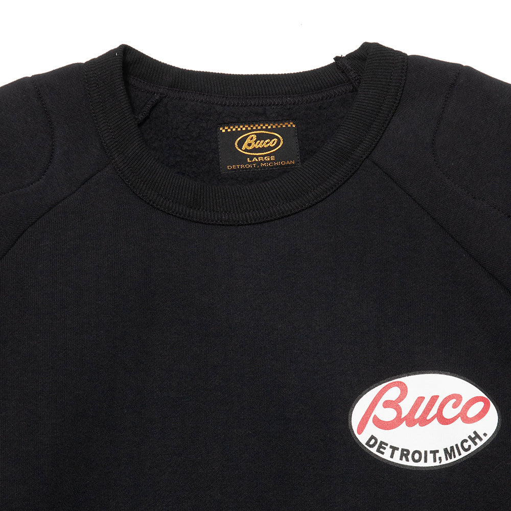 The Real McCoy's Buco Padded Sweatshirt Black at shoplostfound, neck