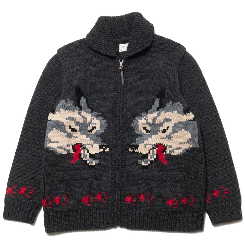 The Real McCoy's Cowichan Sweater Wolf at shoplostfound, front
