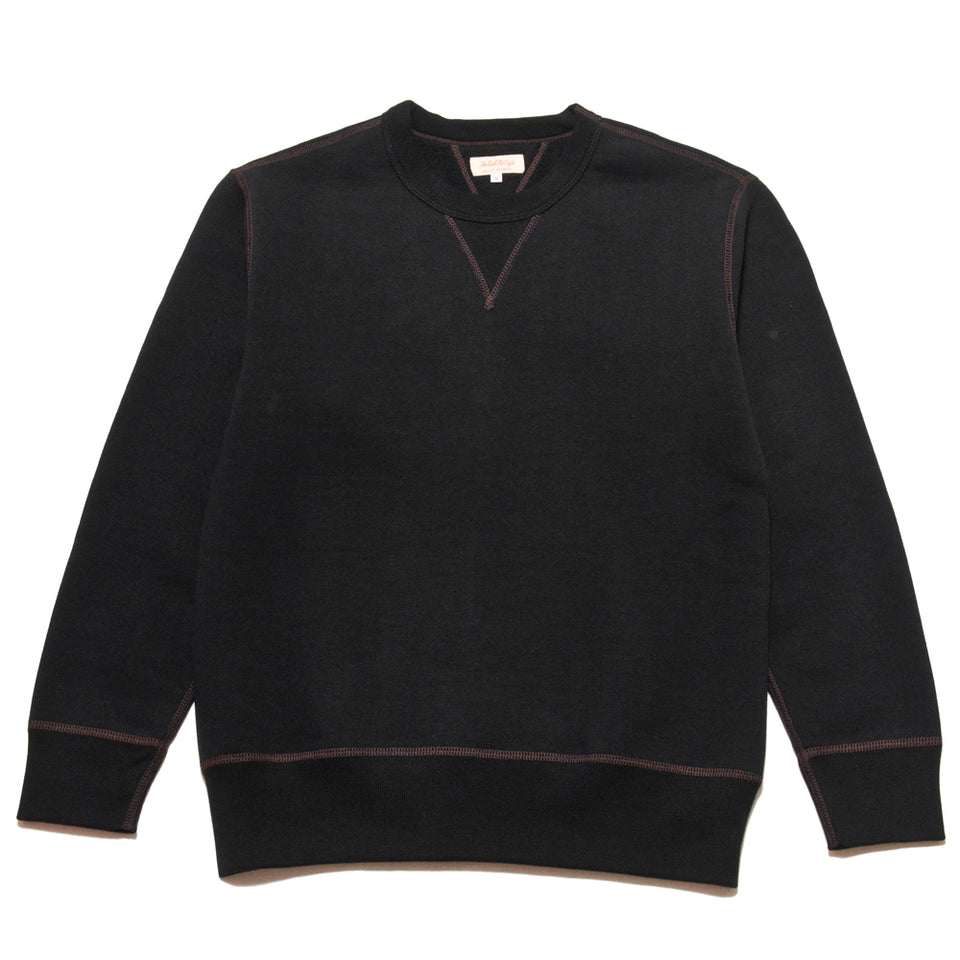 The Real McCoy's Loopwheel Crewneck Sweatshirt Black at shoplostfound, front