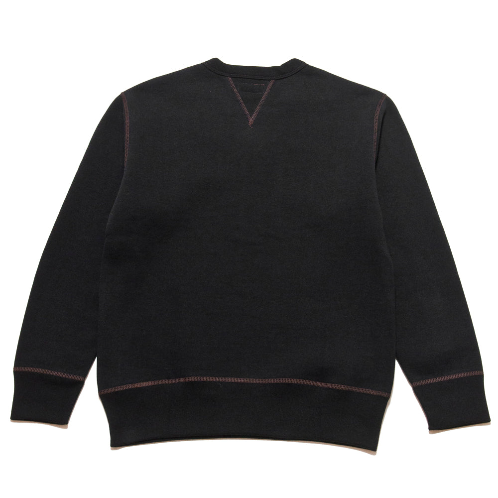 The Real McCoy's Loopwheel Crewneck Sweatshirt Black at shoplostfound, back