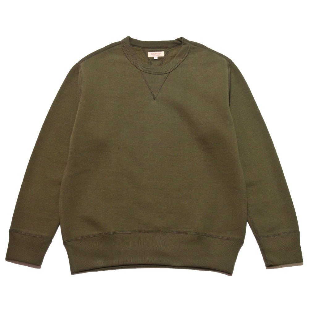 The Real McCoy's Loopwheel Crewneck Sweatshirt Olive at shoplostfound, front