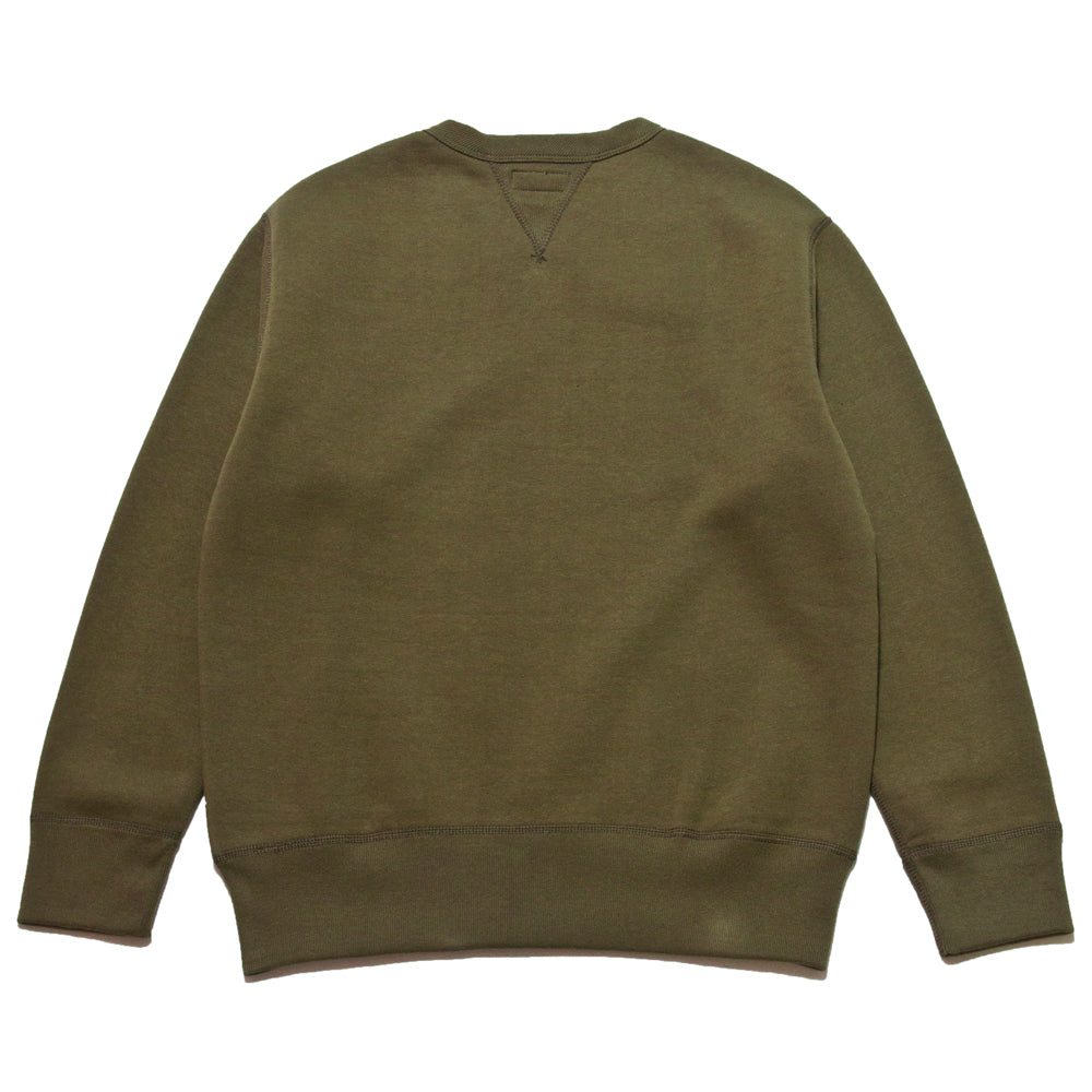 The Real McCoy's Loopwheel Crewneck Sweatshirt Olive at shoplostfound, back