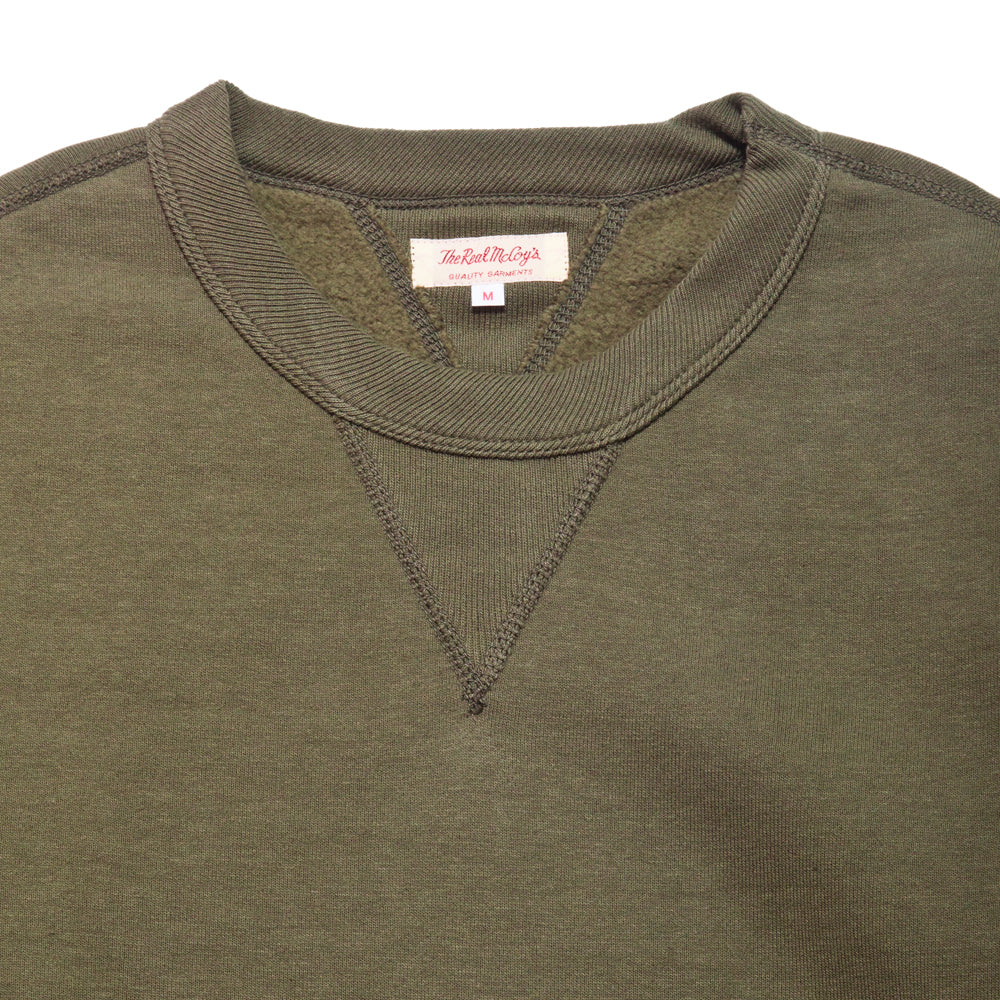 The Real McCoy's Loopwheel Crewneck Sweatshirt Olive at shoplostfound, neck