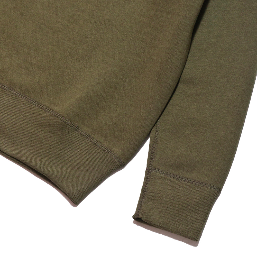 The Real McCoy's Loopwheel Crewneck Sweatshirt Olive at shoplostfound, cuff