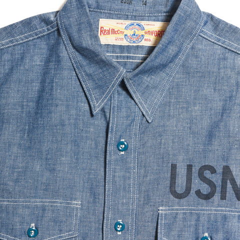 The Real McCoy's MS10102 U.S. Navy Chambray Shirt at shoplostfound in Toronto, front