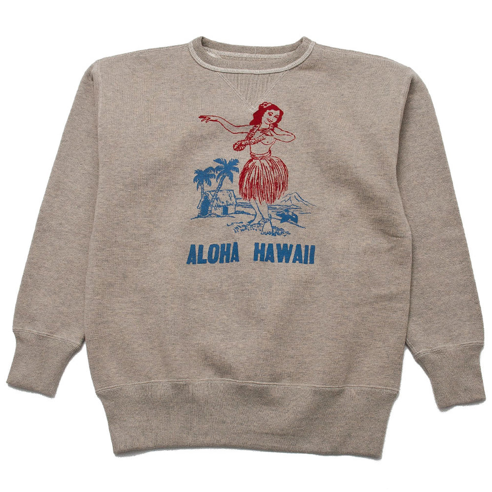 The Real McCoy's Military Print Sweatshirt / Aloha Hawaii Oatmeal MC19107 at shoplostfound, front