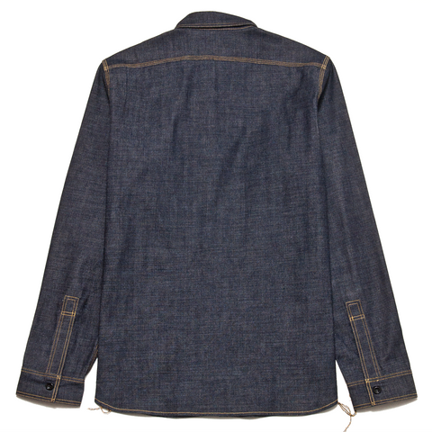 The Real McCoy's 8HU Denim Serviceman Shirt Raw at shoplostfound, front