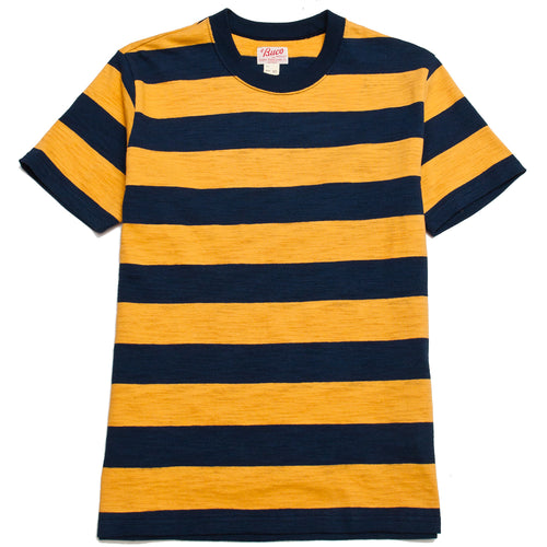 The Real McCoy's Buco Stripe Tee S/S Yellow/Navy at shoplostfound, front