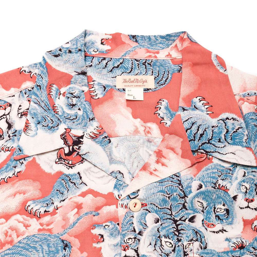 The Real McCoy's Hawaiian Shirt Hyaku-Tora MS18002 at shoplostfound, neck