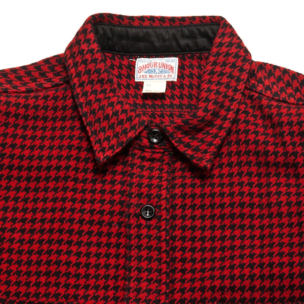 The Real McCoy's Houndstooth Shirt Red/Black at shoplostfound, neck